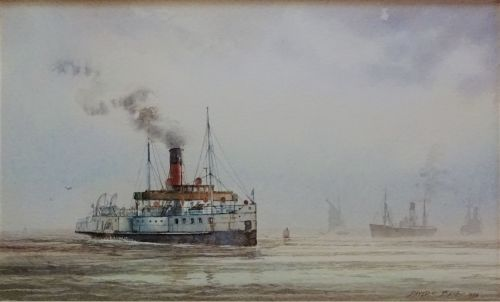 P.S. Lincoln Castle crossing River Humber, watercolour on paper, signed Dav