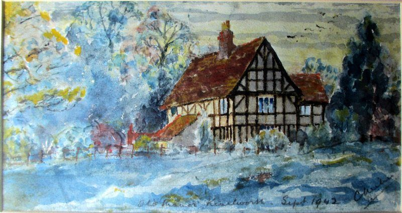 The Old Manor, Kenilworth, watercolour, signed C. Milner, 1942.