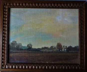 English landscape, oil on board, signed Alice Y Owen, c1920. Framed.