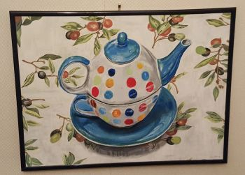 Still-life study of a Teapot on Tablecloth, acrylic on board, signed Christine and verso Christine Pallett 2014.