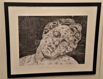 Sleeping Faun, Pencil and Crayon drawing on paper, signed Christine 2014. (Christine Pallett).  Framed.