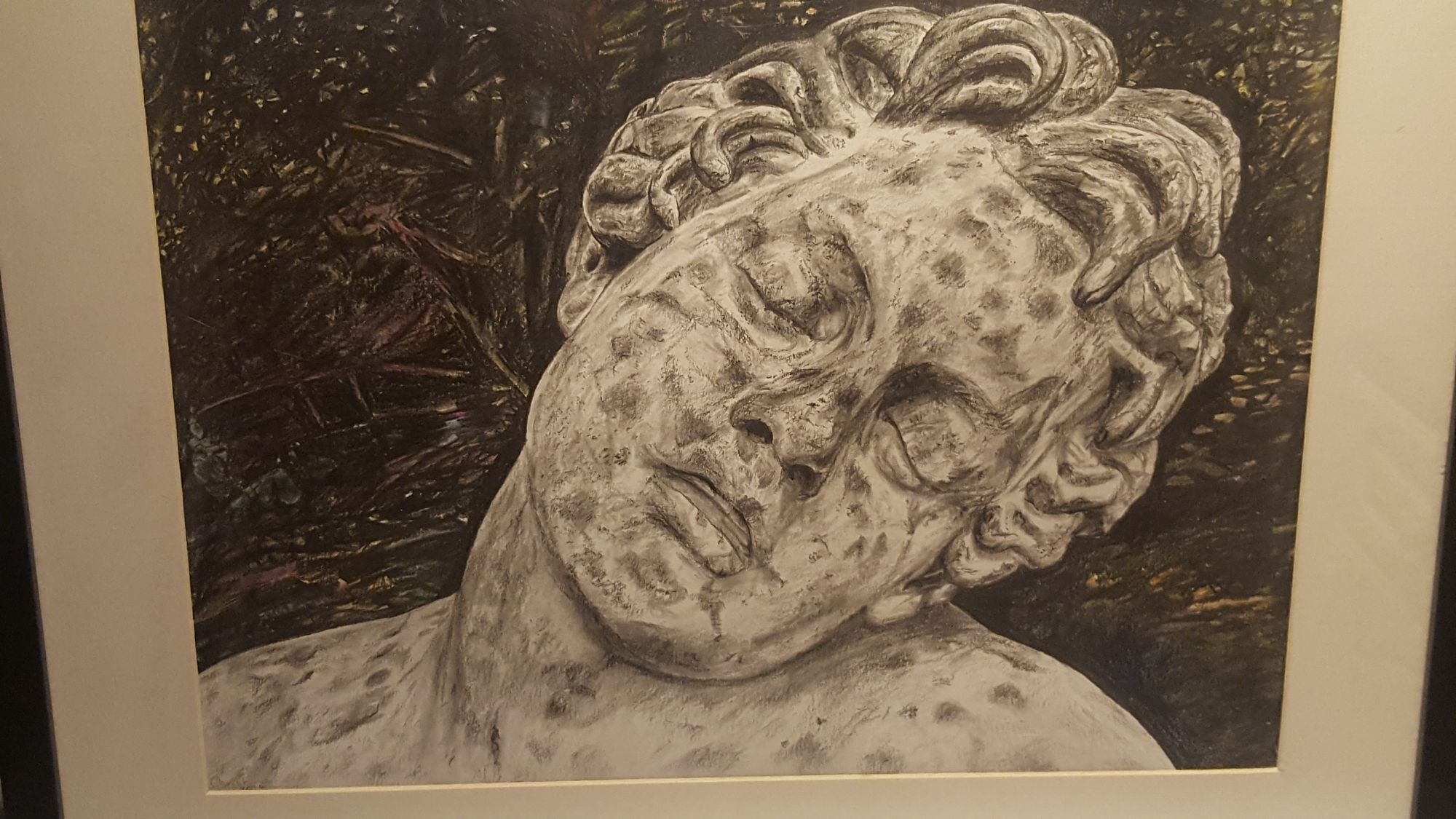 Sleeping Faun, pencil and crayon, signed Christine 2014.