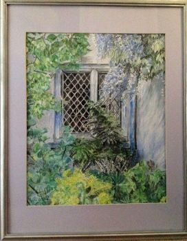 Packwood House Window, acrylic on cardboard, signed Christine Aug 2015. (Christine Pallett). Framed.