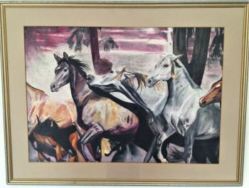 Wild Horses, oil and pastel on paper, signed and dated Christine Pallett 1981. Framed, unglazed.