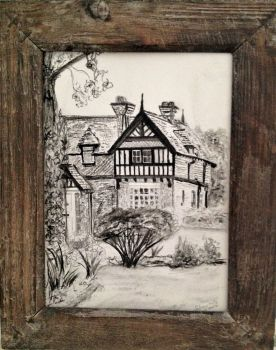 The Gatehouse at Alvaston Hall, Cheshire, life drawing on paper, signed Christine 5 Aug 2010. (Christine Pallett).  Framed.