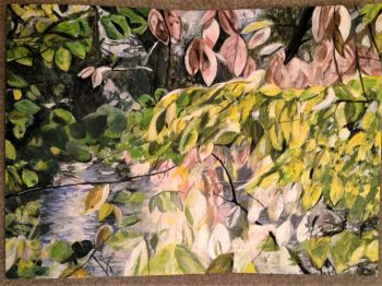 Autumn Leaves, acrylic on paper, signed and dated verso Christine 2015. (Christine Pallett). Unframed.