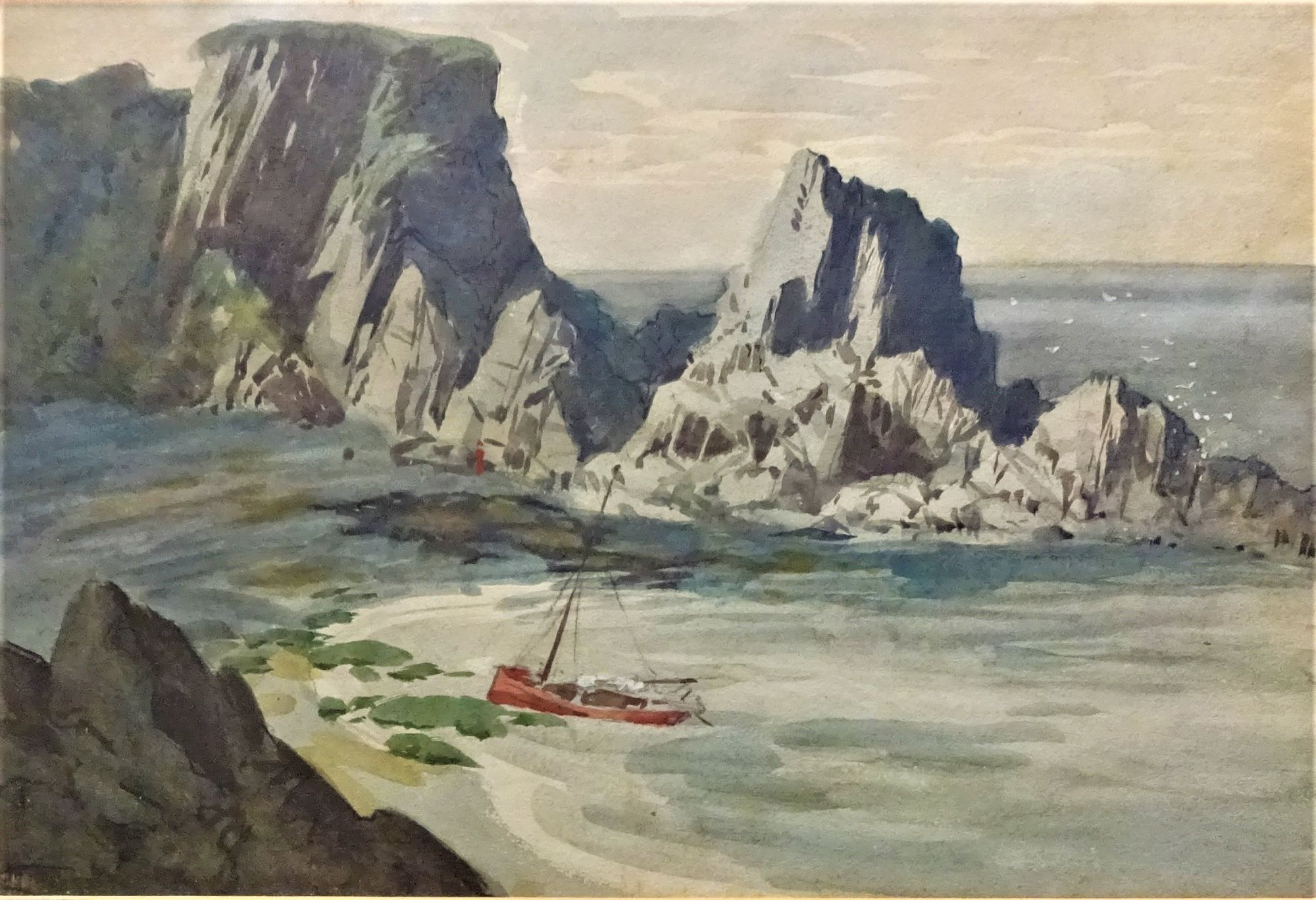 Charles Dudley Tennant, watercolour and gouache, maritime scene, c1930.