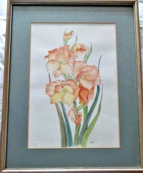 Study of Gladioli, watercolour on paper, signed initials AM and Alison Marshall verso. Framed. c1980.