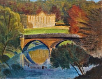 View of Chatsworth House from the Arch Bridge, Derbyshire, oil on board. Unsigned. c1975. Unframed.