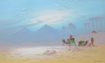Resting near the Pyramids, gouache on paper, signed Frank Holme, c1920. Framed. NOT FOR SALE.