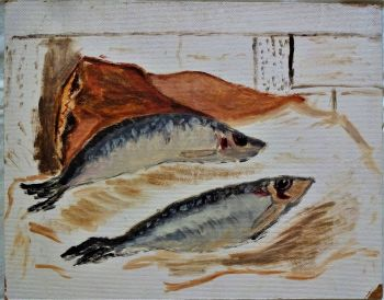 Herrings, Still-life study, oil on board. Signed and dated verso Joan Fuller November 1971. Unframed.
