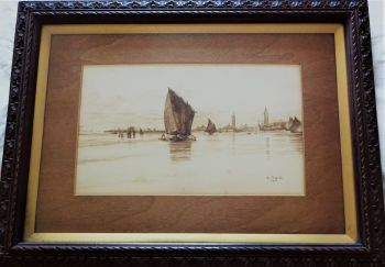 Dutch coastal study off Antwerp with sailing barges, monochrome in burnt umber, signed E Jarratt 1916. Framed.