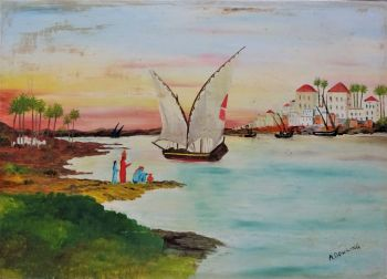 Middle Eastern coastal scene with dhows and figures, oil on board, signed A. Dowling, c1950. Unframed.