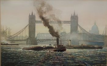 River Thames study with Tower Bridge and Tugs, watercolour on paper, signed Barry T. Pearce 85. Framed.