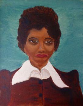 Portrait of a woman, oil on Daler board, unsigned. Joan Fuller. Unframed. 1971.