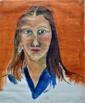 Portrait of a Young Woman, oil on paper, unsigned. Joan Fuller, c1971. Unframed.