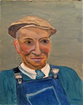 A portrait of the Handy-man, oil on Daler board, unsigned. Joan Fuller c1971. Unframed.