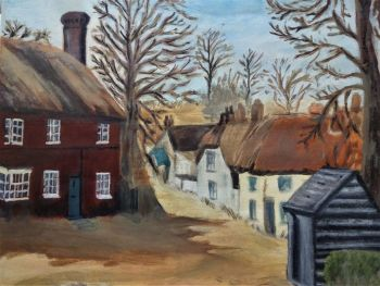 Nottinghamshire Village scene, oil on art paper, unsigned, Joan Fuller, c1971. Unframed.