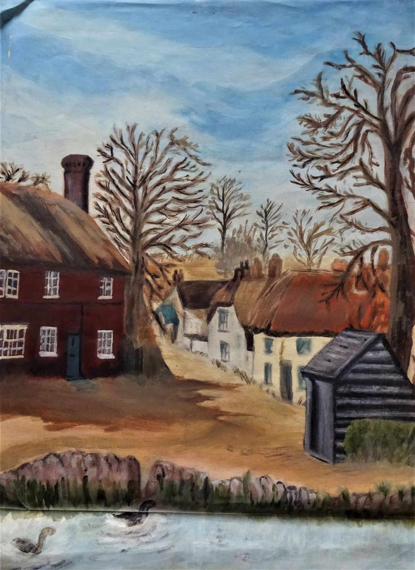 Joan Fuller, c1971, Notts Village scene, oil on paper.