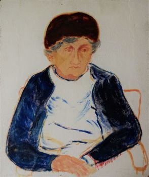 A Study in Life, an Elderly Lady, oil on board, titled, signed and dated verso, Joan Fuller, 1971. Unframed.