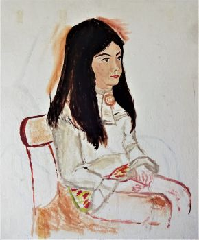 Study of a Seated Girl, oil on board, titled, signed and dated verso Joan Fuller December 1971. Framed.
