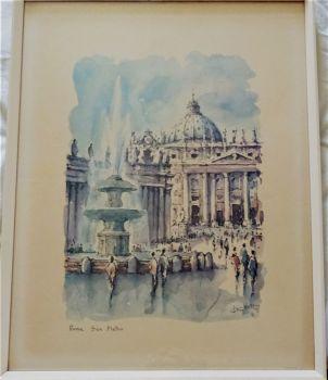 Roma San Pietro, open-edition lithograph signed F Drottell. Riproduzione Vietata Roma. c1965. Framed.