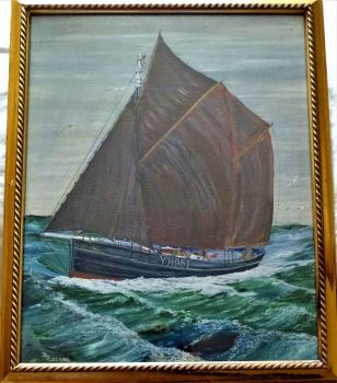 Great Yarmouth Fishing Vessel Paradox YH951 at sea, oil on board, signed DJ Colman, c1960. Framed.