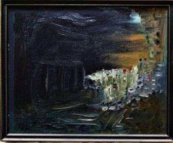 The End of the Trail, oil on Daler board, signed verso R.B. Fuller, September 1976. Framed.