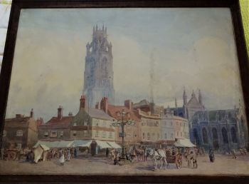 Boston Market Place with St. Botolph's Church, watercolour on board signed G. Harrison 1921. Framed.