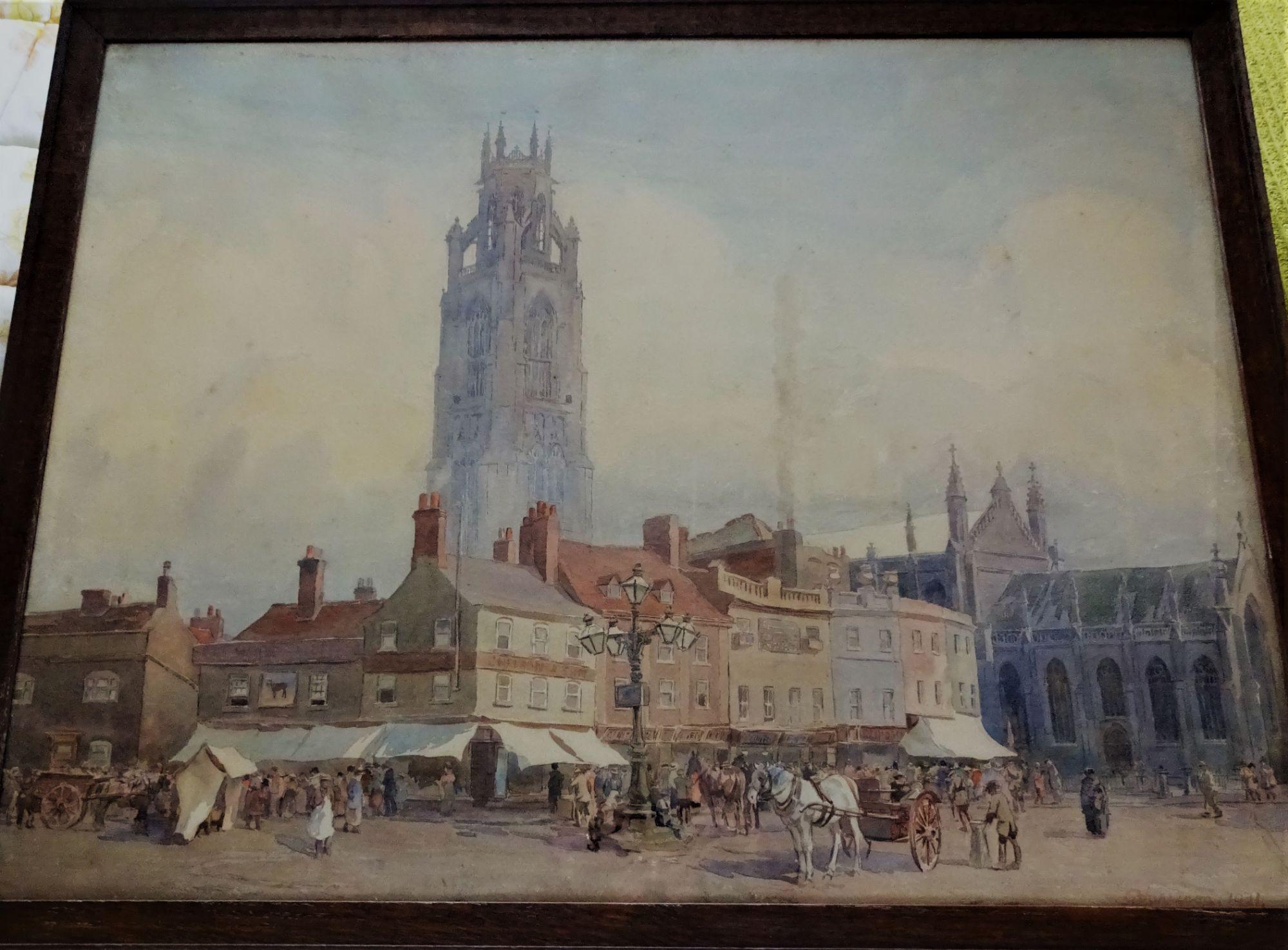 Harrison, George, watercolour, Boston Market Place 1921.