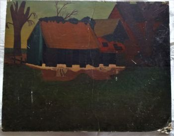 Staniland's Old Barn, West Retford, oil on Reeves board, unsigned (R. Fuller), c1960. Unframed.