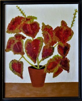Still-life study of Coleus in Pot, oil on board, signed verso RB Fuller September 1976. Framed.