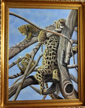 Leopard Cubs in Tree, oil on canvas, signed James Noble, c1980. Framed.