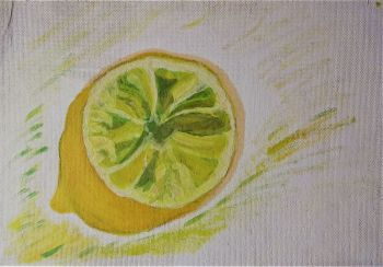 Still-Life study of a Lemon, oil on board, unsigned (Joan Fuller) c1970. Unframed.