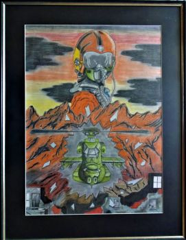 Emergence Sci-Fi, Pastel and Graphite on paper, signed R8, c1970. Framed.
