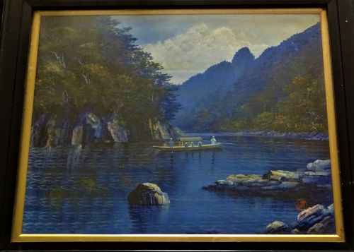 Japanese Ferry landscape, oil on board, titled and signed Shou-yama, c1960.