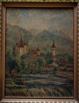 Bavarian Mountain landscape, mit schloss und fluss, oil on board, signed A. Dodsley 57 (Arthur Dodsley 1957). Framed.