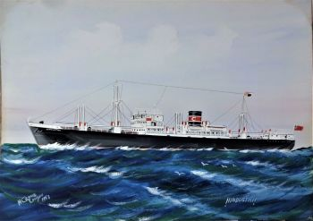 m.v. Hindustan at Sea, ship portrait, gouache on card, titled, signed and dated, Hindustan, H Crane London 1953. Unframed.