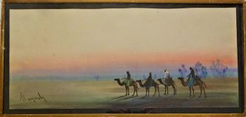 Desert Camel Train at Sunset, gouache on Canson & Montgolfier Fine Art paper, signed Augusly, c1900. Framed.