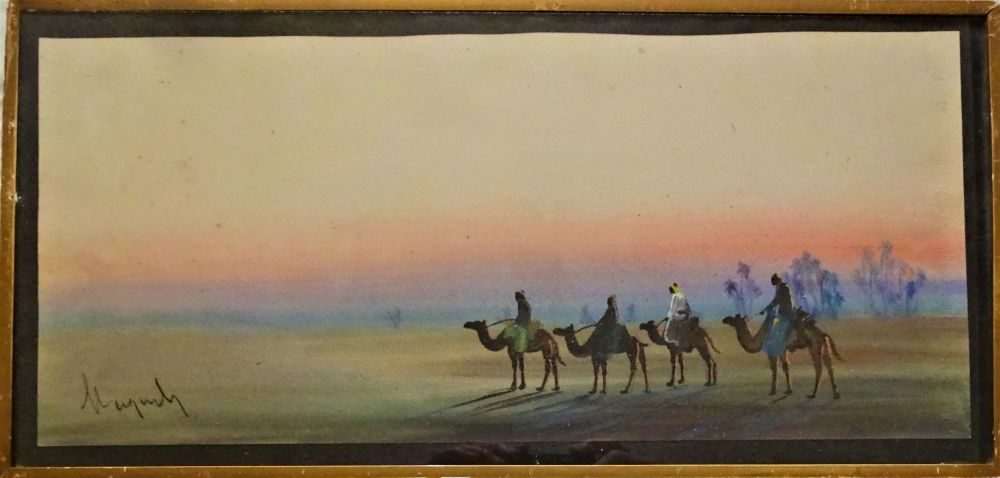 Gouache on fine art paper, desert scene with camels at sunset, unknown signature, c1900. DSC04041
