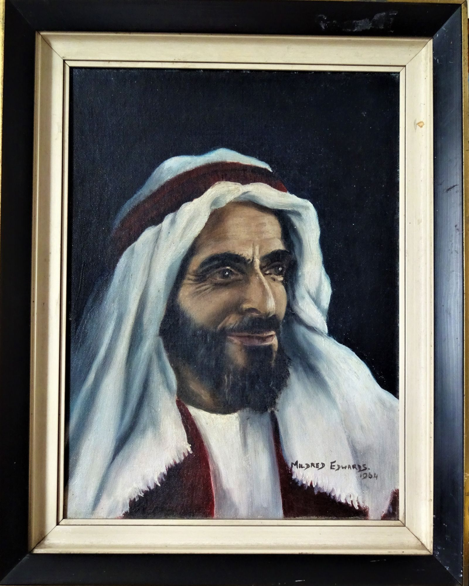 Shakhbut bin Sultan al Nahyan, oil on boiard, signed Mildred Edwards, 1964.  Framed.