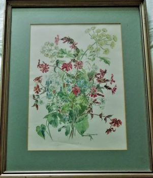 Still-life study of Wild Flowers, watercolour on paper, signed P. Jeannotte, c1970. Framed.