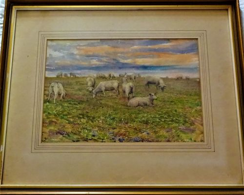 Grazing Sheep, landscape, watercolour on paper, signed Taffy Davidson 1917.