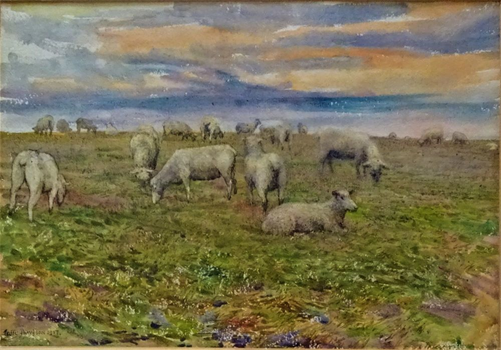 Watercolour on paper, landscape with sheep, signed, Taffy Davidson 1917.DSC04109