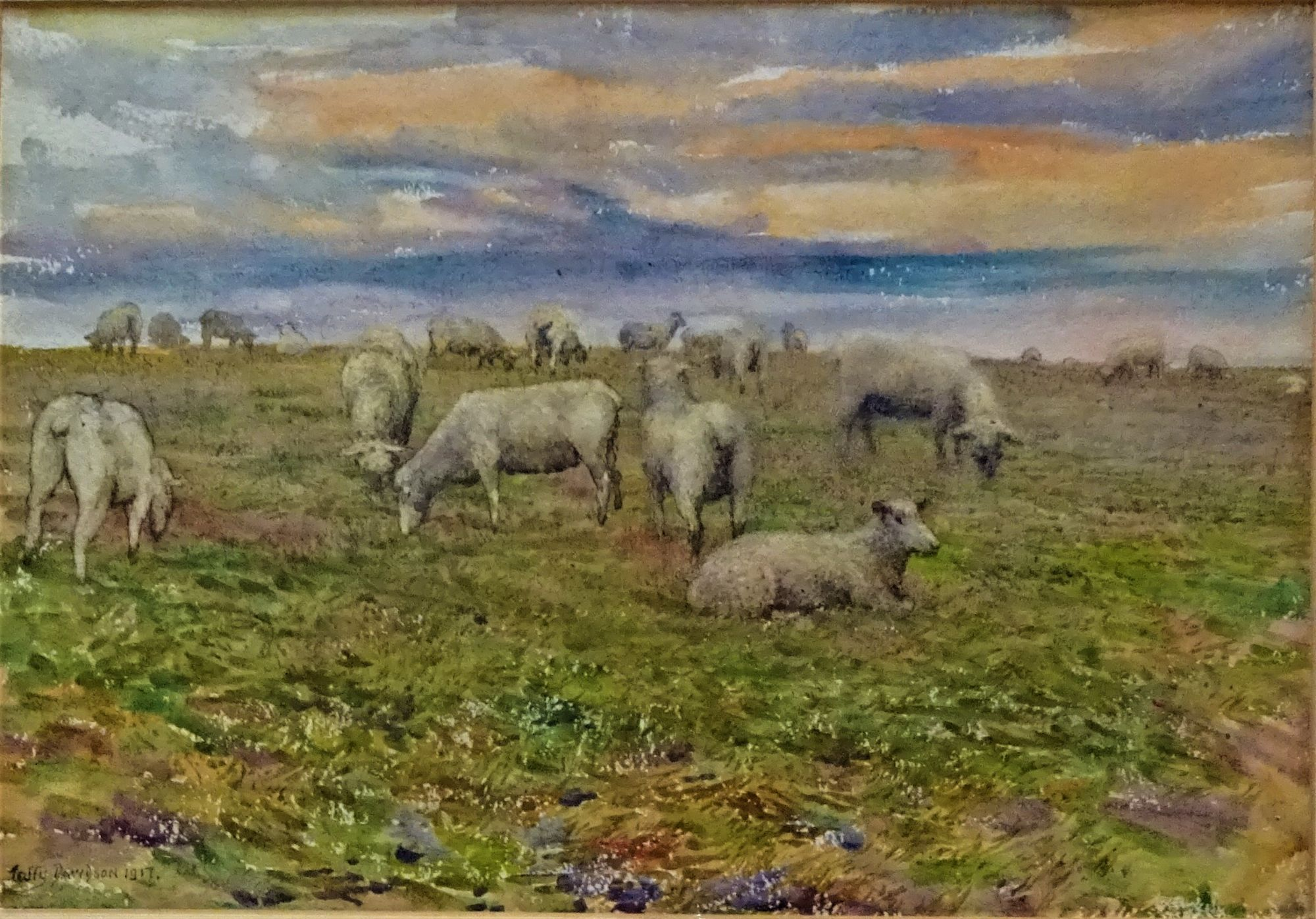 Grazing Sheep, landscape,  watercolour on paper, signed Taffy Davidson 1917. Framed.