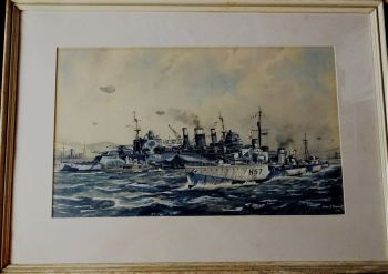 HMS Hesperus, H57, in coastal scene with barrage balloons, 1941, watercolour and gouache, signed John R. Dominy 1966. Framed.