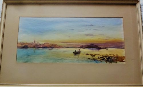 Marsanxett Harbour, Malta, at Sunset, watercolour, signed and titled Michae