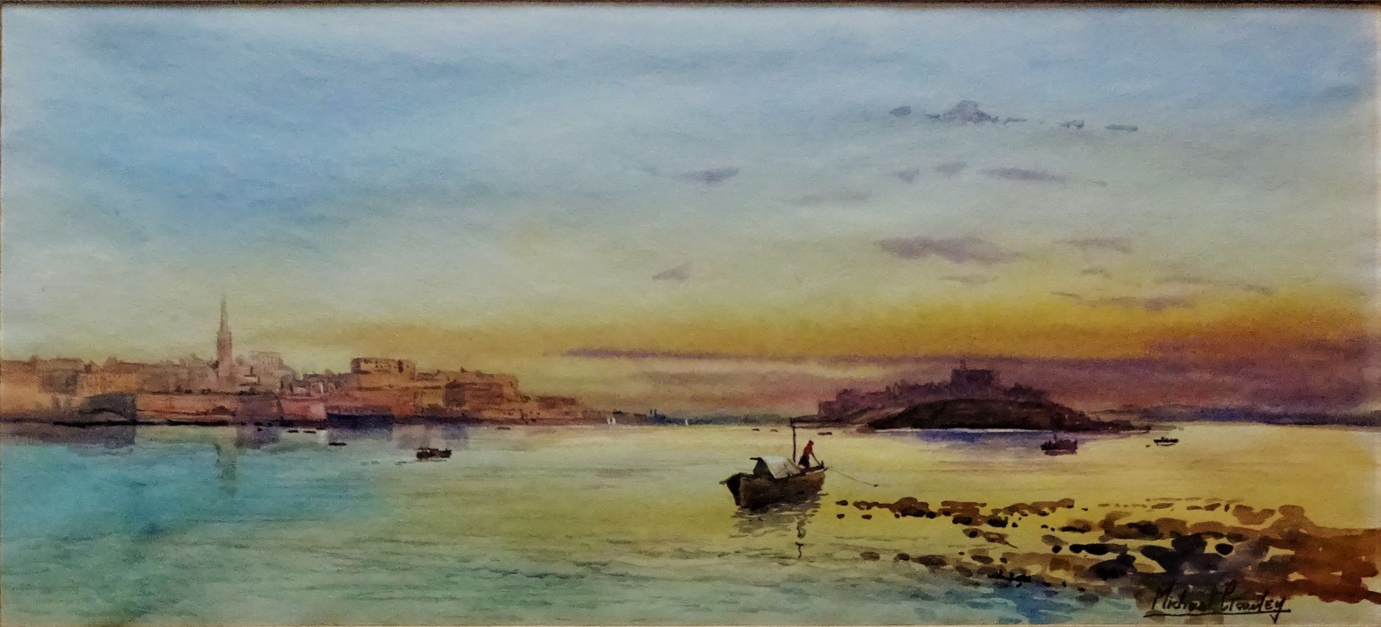 Marsanxett Harbour Malta, watercolour, signed Michael Crawley, c1985. Framed.