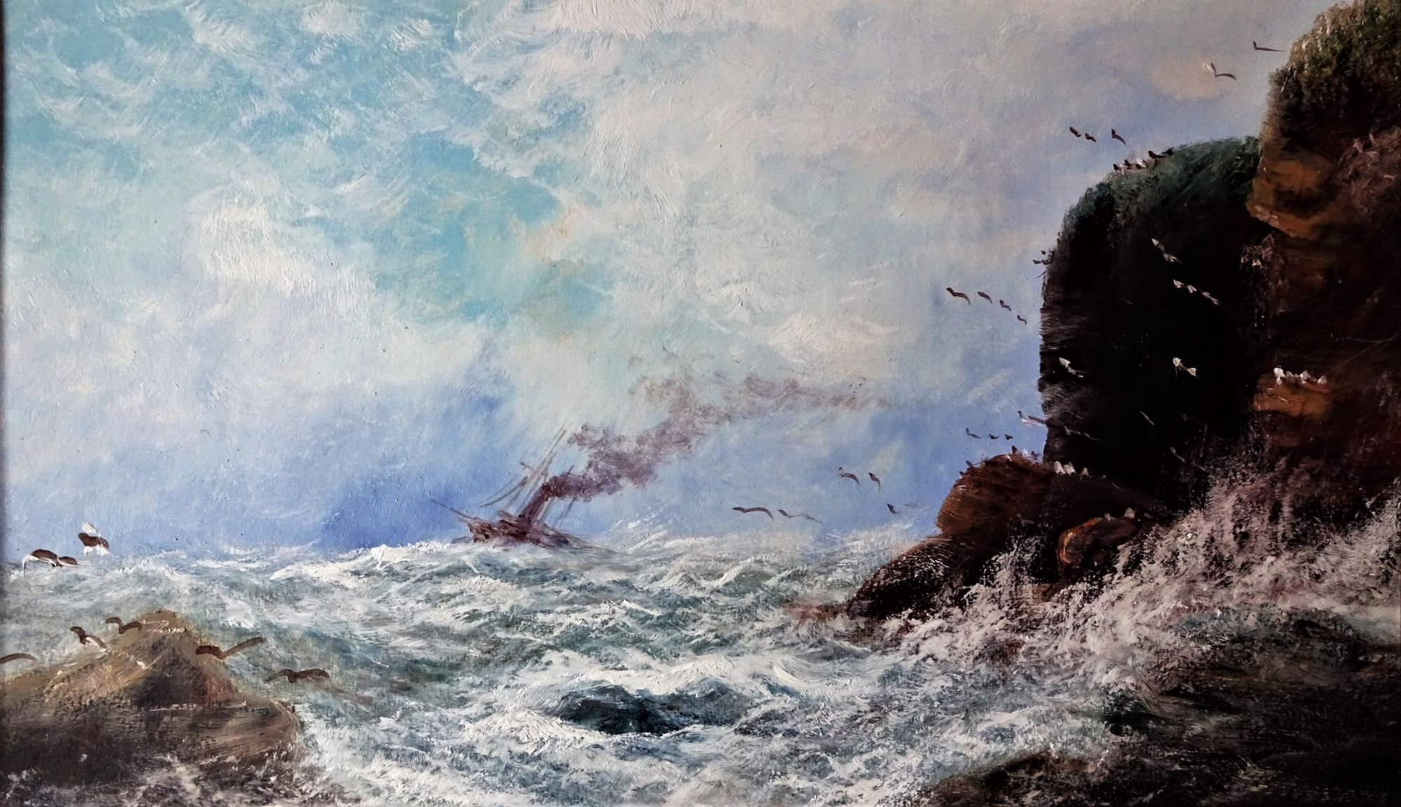 Steamer off Bempton Cliffs, oil on card, Aubrey Ramus, c1930. Framed.