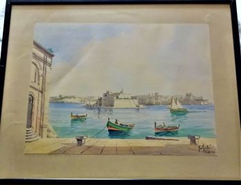 St. Angelo from Customs House Steps, watercolour on card, titled and signed Joseph Galea Malta, c1950. Framed.